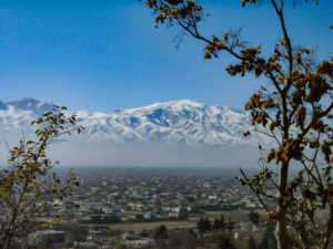 View of the mountains to the south of Kabul Afghanistan showing the snow on the peaks.
